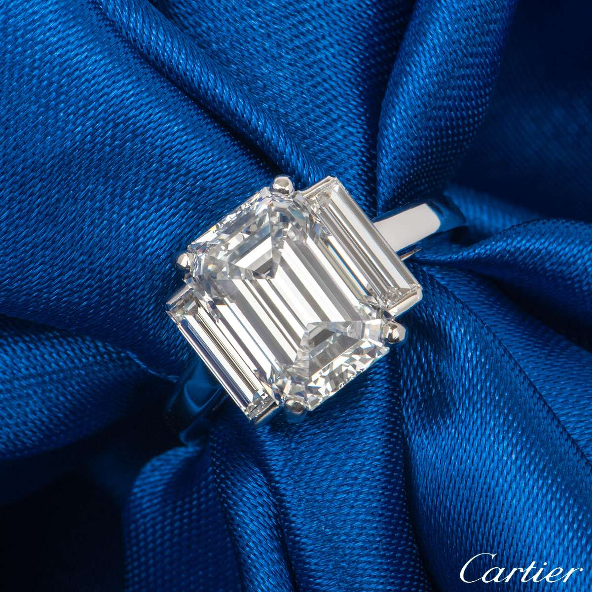 Cartier Emerald Cut Diamond Platinum Ring 3.36ct F/VS1